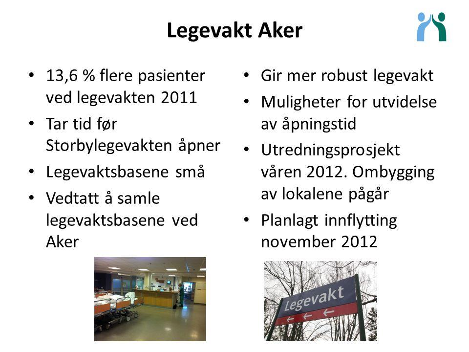 Legevakt Aker Gir mer robust legevakt Muligheter for utvidelse av åpningstid Utredningsprosjekt våren 2012. Ombygging av lokalene pågår Planlagt innfl
