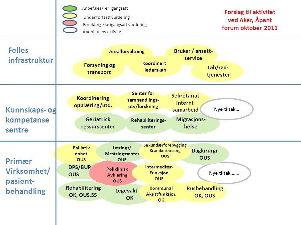 Nye tiltak……. Primær Virksomhet/ pasient- behandling Felles infrastruktur Kunnskaps- og kompetanse sentre Rehabiliterings- senter Geriatrisk ressursse