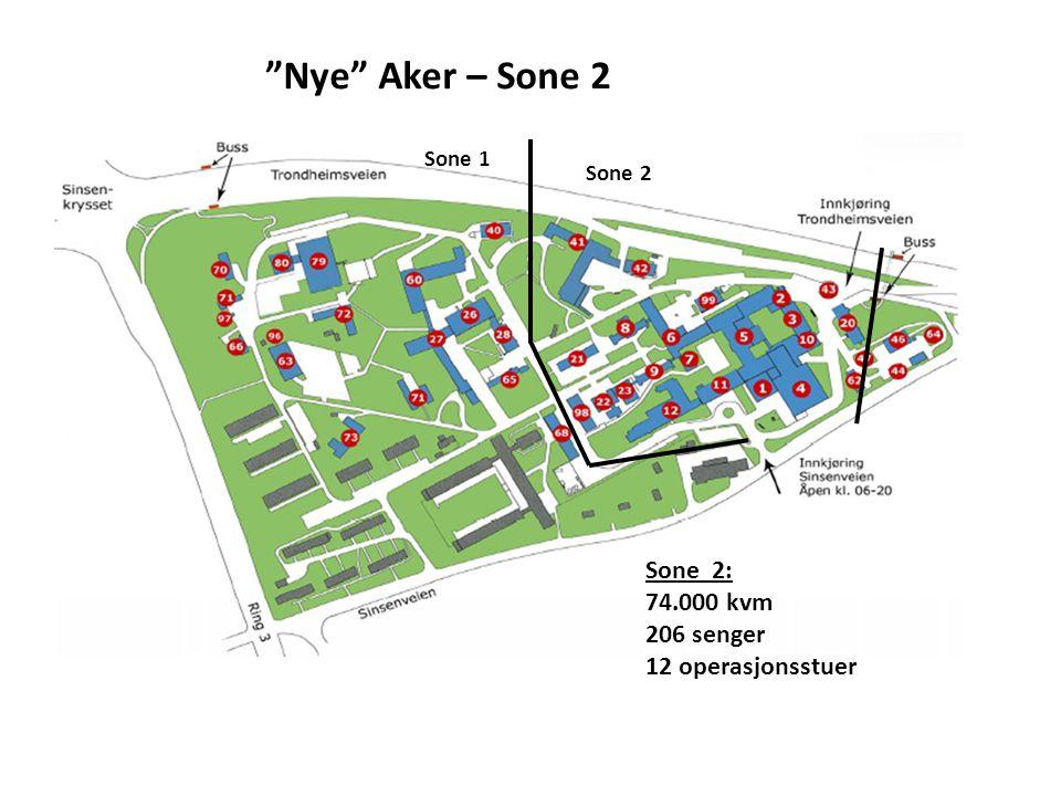 """Sone 2 Sone 1 """"Nye"""" Aker – Sone 2 Sone 2: 74.000 kvm 206 senger 12 operasjonsstuer"""