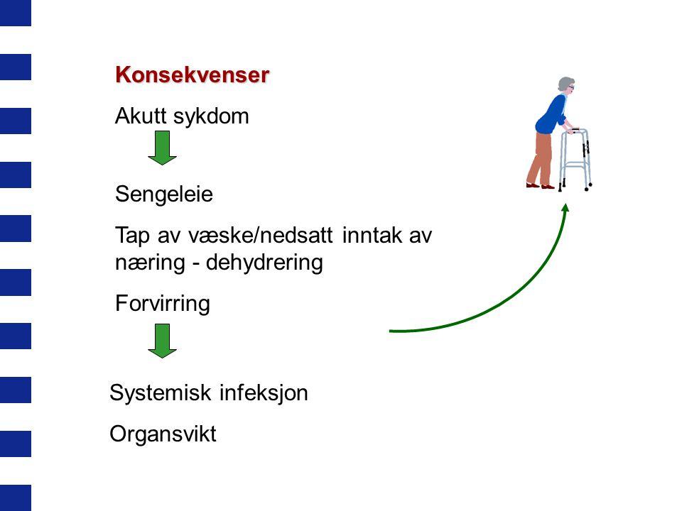 Konsekvenser Akutt sykdom Sengeleie Tap av væske/nedsatt inntak av næring - dehydrering Forvirring Systemisk infeksjon Organsvikt