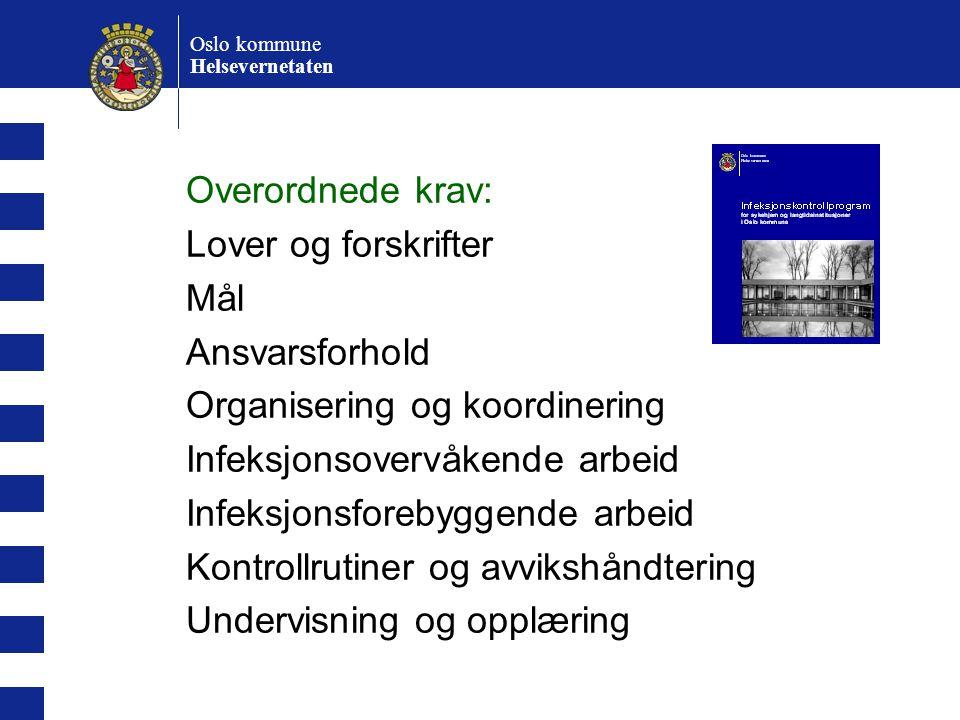 Oslo kommune Helsevernetaten Overordnede krav: Lover og forskrifter Mål Ansvarsforhold Organisering og koordinering Infeksjonsovervåkende arbeid Infek