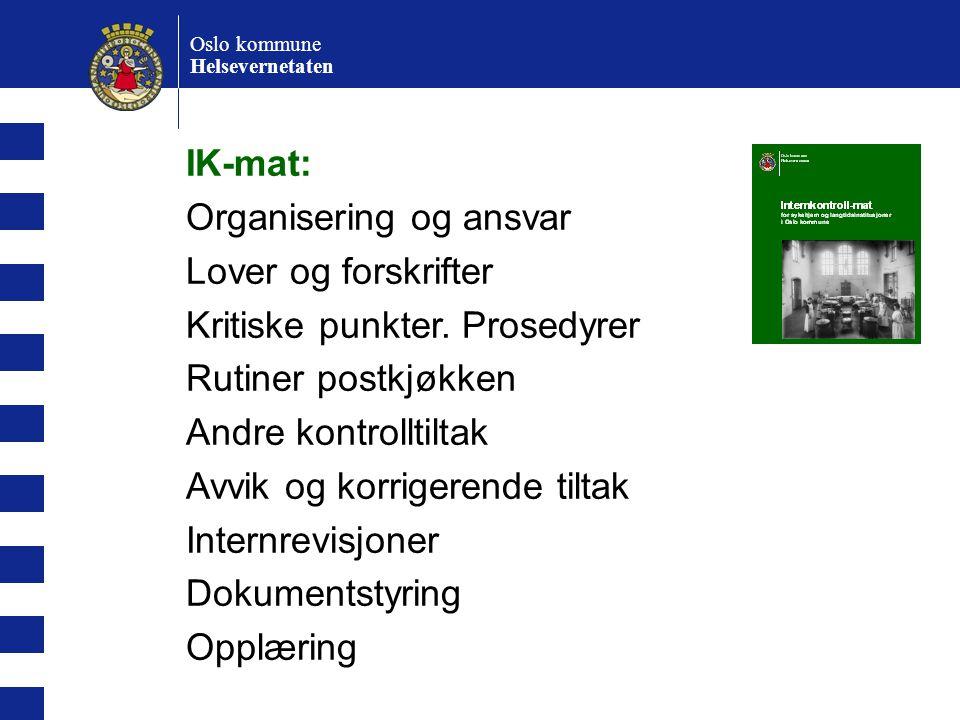 Oslo kommune Helsevernetaten Kritiske punkter.