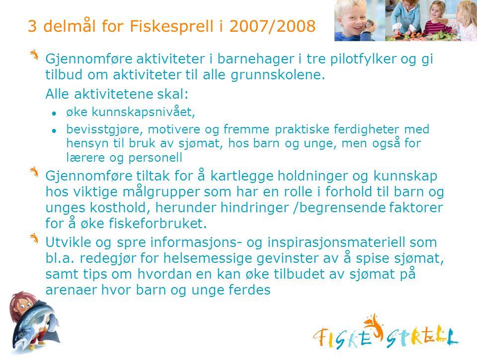 3 delmål for Fiskesprell i 2007/2008 Gjennomføre aktiviteter i barnehager i tre pilotfylker og gi tilbud om aktiviteter til alle grunnskolene. Alle ak