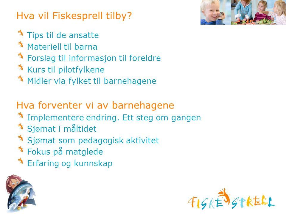 Hva vil Fiskesprell tilby? Tips til de ansatte Materiell til barna Forslag til informasjon til foreldre Kurs til pilotfylkene Midler via fylket til ba