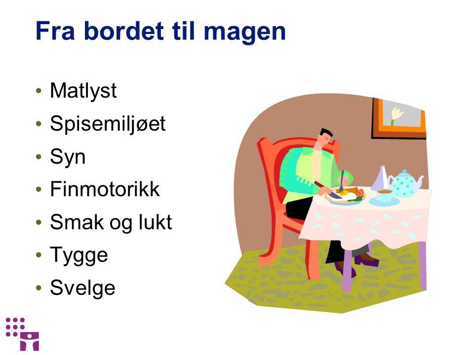 Fra bordet til magen Matlyst Spisemiljøet Syn Finmotorikk Smak og lukt Tygge Svelge