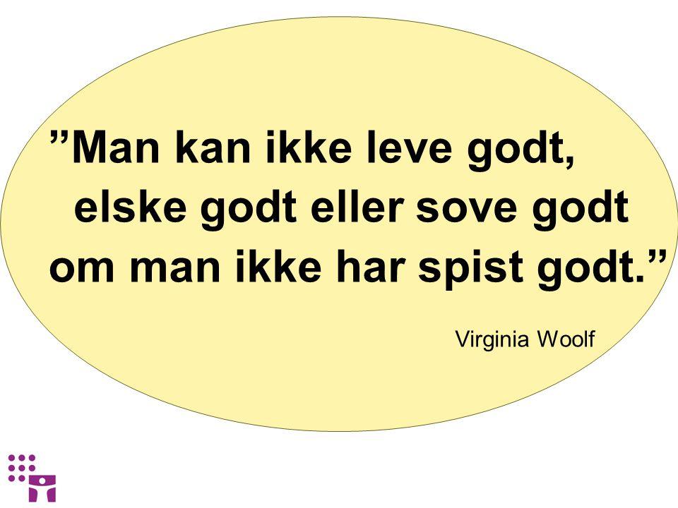 """""""Man kan ikke leve godt, elske godt eller sove godt om man ikke har spist godt."""" Virginia Woolf"""