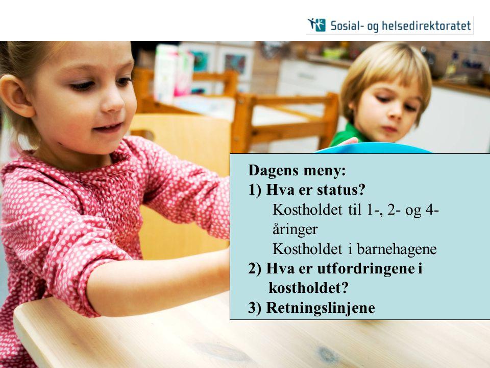 2007| Retningslinjer for mat og måltider i barnehagen | 2 Dagens meny: 1) Hva er status? Kostholdet til 1-, 2- og 4- åringer Kostholdet i barnehagene