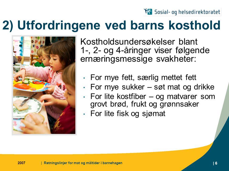 2007| Retningslinjer for mat og måltider i barnehagen | 17 2) Utfordringer i barnehagen  Mye bra ved mat- og måltidstilbudet i landets barnehager, men klart forbedringspotensial  Høy bevissthet blant pedagogiske ledere og styrere, men de trenger verktøy/materiell Utfordringer: Erstatte tilbudet av helmelk med magrere melketyper Øke tilbudet av grovt brød Øke tilbudet av grønnsaker, både som mellommåltid og som del av varmt måltid Øke tilbudet av fisk og fiskepålegg Øke variasjonen i pålegg og tilbud av varm mat Finne alternativer til søt mat og drikke ved markeringer og feiringer