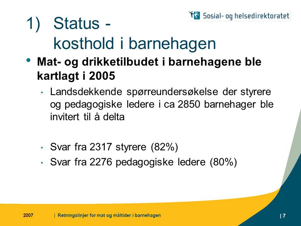 2007| Retningslinjer for mat og måltider i barnehagen | 7 1)Status - kosthold i barnehagen Mat- og drikketilbudet i barnehagene ble kartlagt i 2005 La