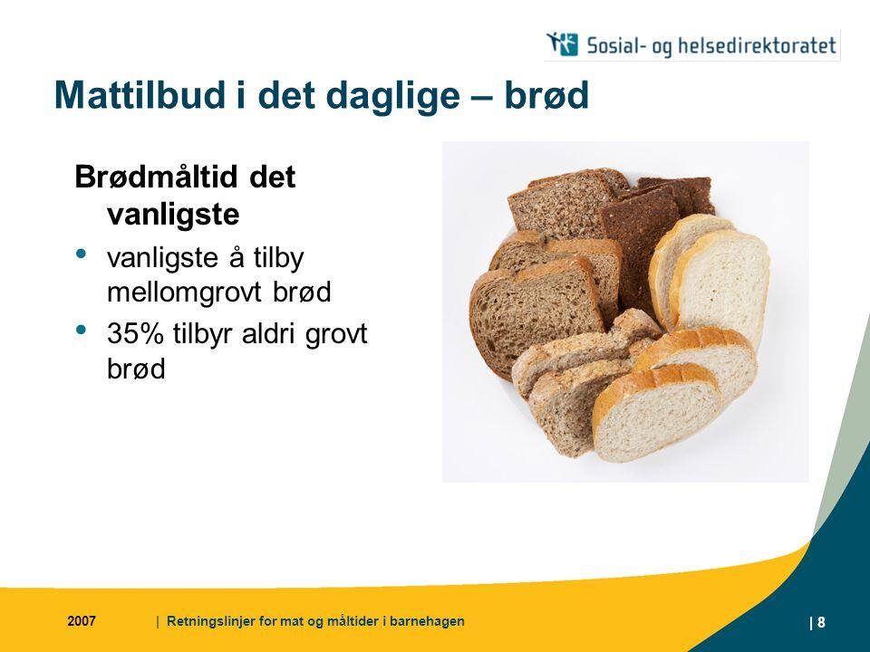 2007| Retningslinjer for mat og måltider i barnehagen | 8 Mattilbud i det daglige – brød Brødmåltid det vanligste vanligste å tilby mellomgrovt brød 35% tilbyr aldri grovt brød