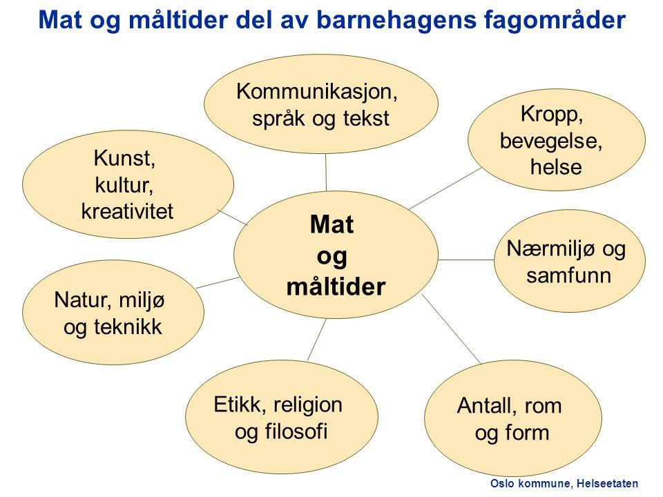 Oslo kommune, Helseetaten Forskrift om rammeplan for barnehagens innhold og oppgaver 2.1Omsorg og oppdragelse Omsorg skal komme til uttrykk i måltider.