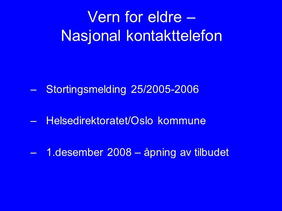 Vern for eldre – Nasjonal kontakttelefon –Stortingsmelding 25/2005-2006 –Helsedirektoratet/Oslo kommune –1.desember 2008 – åpning av tilbudet