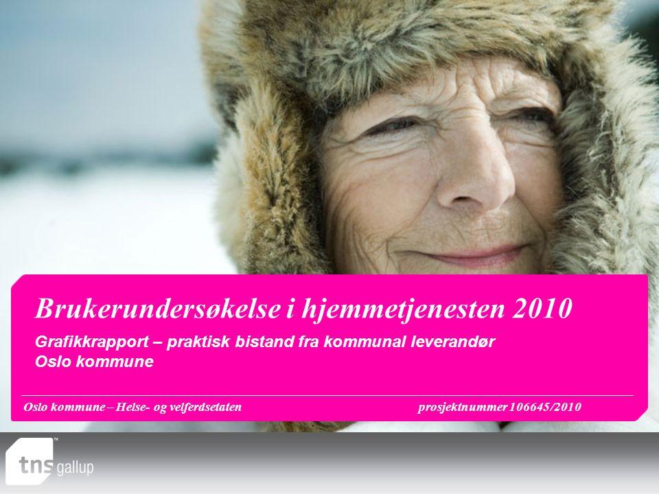 Oslo kommune – Helse- og velferdsetatenprosjektnummer 106645/2010 Brukerundersøkelse i hjemmetjenesten 2010 Grafikkrapport – praktisk bistand fra komm