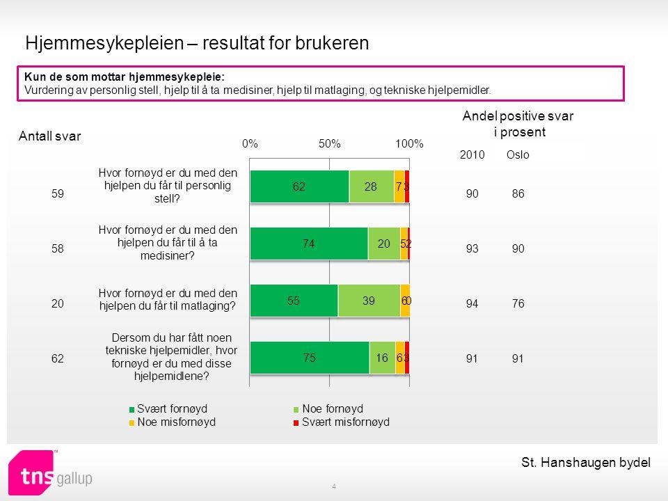 Hjemmesykepleien – resultat for brukeren 4 Kun de som mottar hjemmesykepleie: Vurdering av personlig stell, hjelp til å ta medisiner, hjelp til matlag