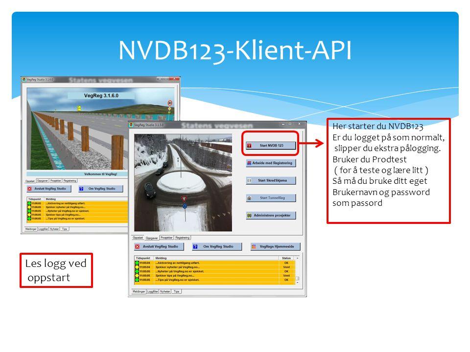 NVDB123-Klient-API Les logg ved oppstart Her starter du NVDB123 Er du logget på som normalt, slipper du ekstra pålogging. Bruker du Prodtest ( for å t