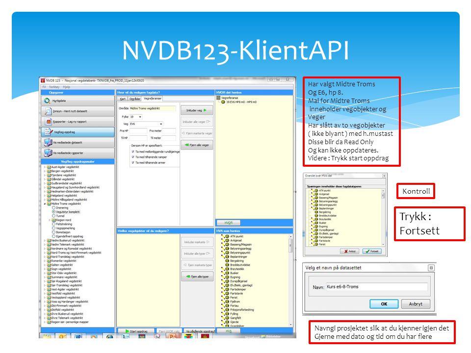 NVDB123-KlientAPI Har valgt Midtre Troms Og E6, hp 8. Mal for Midtre Troms inneholder vegobjekter og Veger Har slått av to vegobjekter ( ikke blyant )