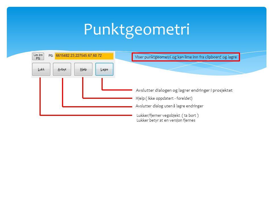 Punktgeometri Viser punktgeometri og kan lime inn fra clipboard og lagre Lukker/fjerner vegobjekt ( ta bort ) Lukker betyr at en versjon fjernes Avslu