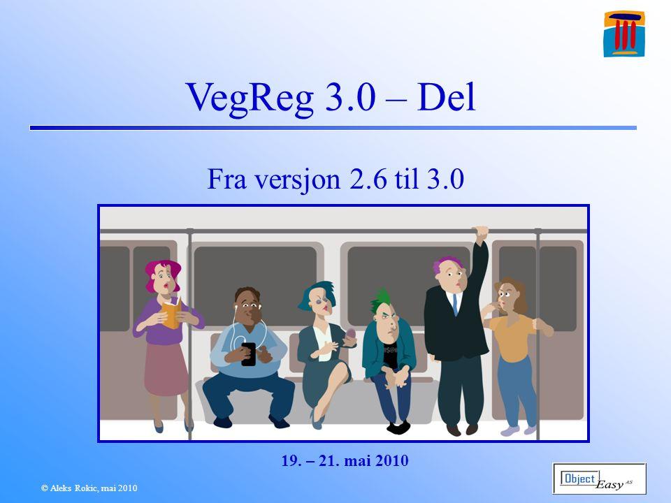VDB ut – NVDB for 2.6 DATA BANKEN VegReg 2.6 systemet VegReg-Indre VegReg-Ytre Meldinger DKVNOP Prosjekt Klient-API m/ UpdateHelper TiM NVDB 123 NVDB Studio NVDB Innsj © Aleks Rokic, mai 2010 NVDB VegReg