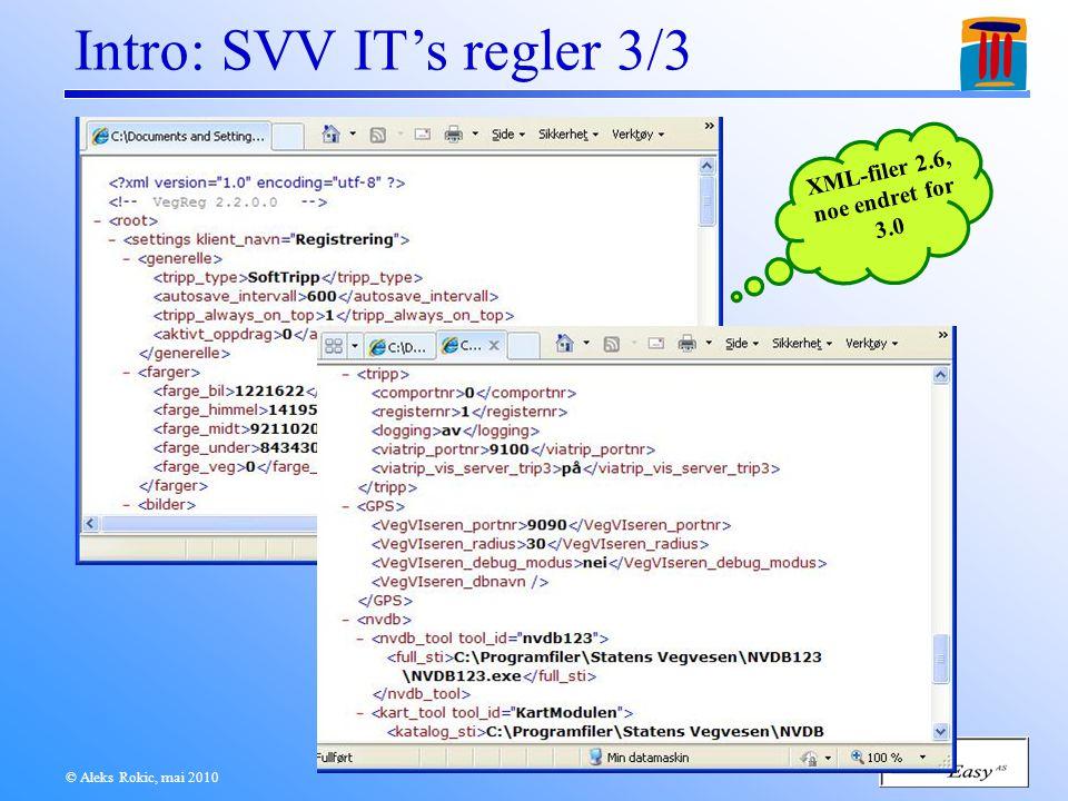 © Aleks Rokic, mai 2010 Intro: SVV IT's regler 3/3 XML-filer 2.6, noe endret for 3.0