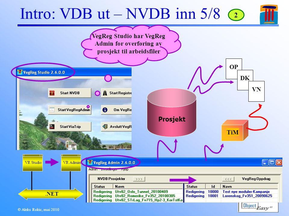 © Aleks Rokic, mai 2010 Intro: VDB ut – NVDB inn 5/8.NET VR Admin VegReg Studio har VegReg Admin for overføring av prosjekt til arbeidsfiler 2 VR Studio Prosjekt OPDKVN TiM