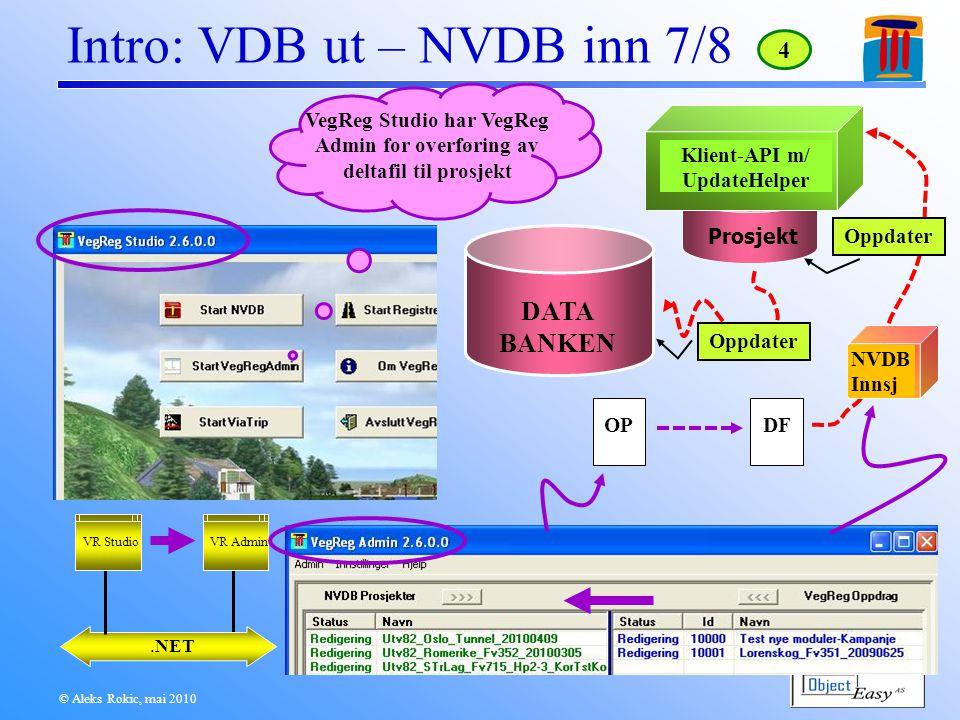 © Aleks Rokic, mai 2010 Intro: VDB ut – NVDB inn 7/8.NET VR Admin VegReg Studio har VegReg Admin for overføring av deltafil til prosjekt 4 VR Studio OPDF NVDB Innsj Prosjekt Klient-API m/ UpdateHelper DATA BANKEN Oppdater
