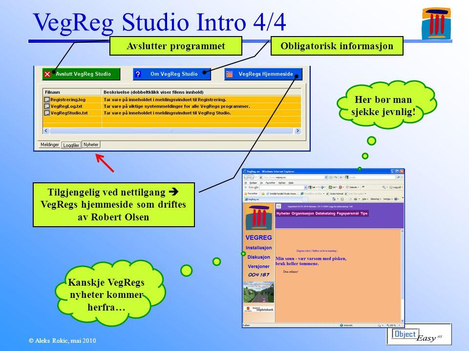 VegReg Studio Intro 4/4 © Aleks Rokic, mai 2010 Her bør man sjekke jevnlig.