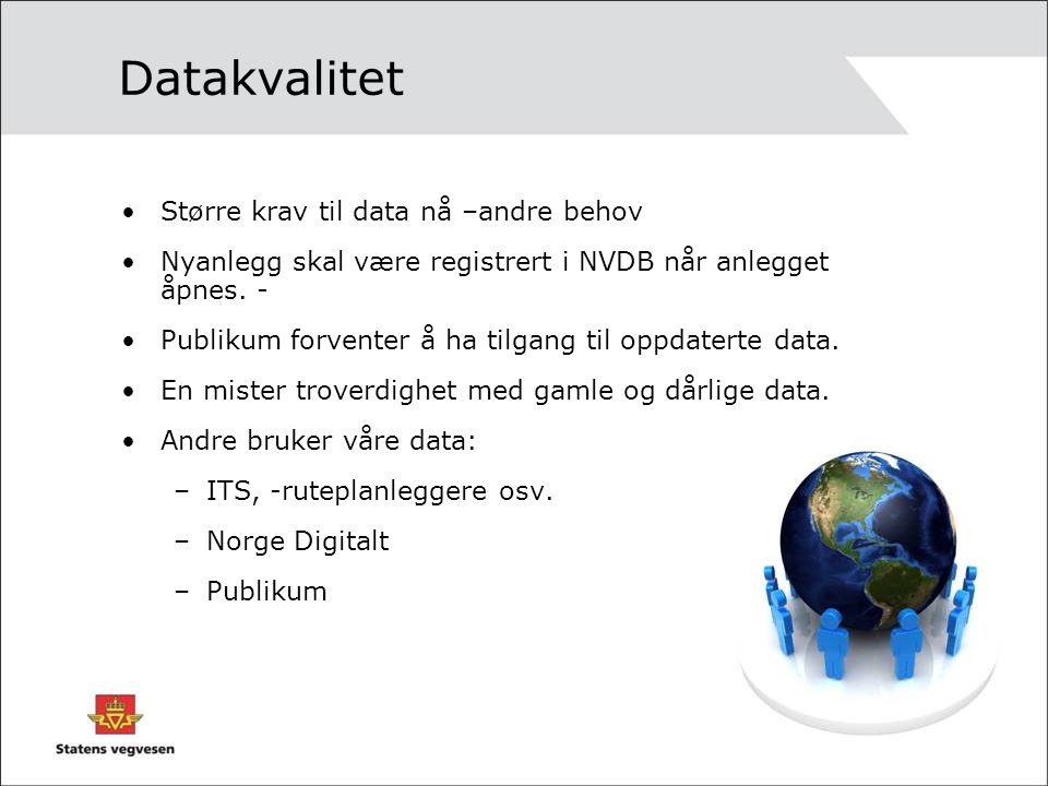 Større krav til data nå –andre behov Nyanlegg skal være registrert i NVDB når anlegget åpnes. - Publikum forventer å ha tilgang til oppdaterte data. E