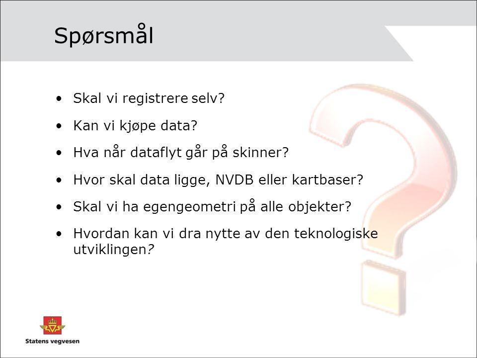 Spørsmål Skal vi registrere selv? Kan vi kjøpe data? Hva når dataflyt går på skinner? Hvor skal data ligge, NVDB eller kartbaser? Skal vi ha egengeome
