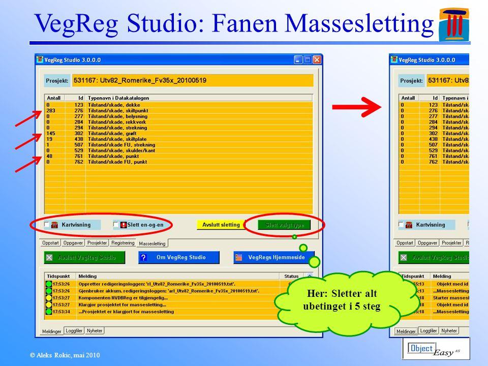 © Aleks Rokic, mai 2010 VegReg Studio: Fanen Massesletting Her: Sletter alt ubetinget i 5 steg