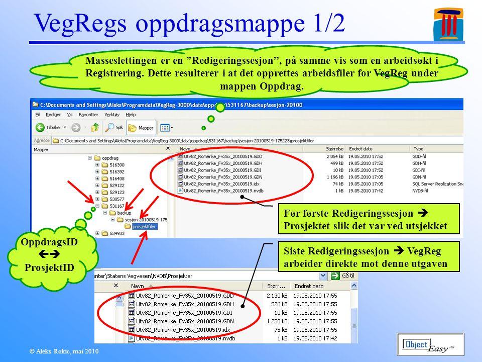 © Aleks Rokic, mai 2010 VegRegs oppdragsmappe 1/2 Masseslettingen er en Redigeringssesjon , på samme vis som en arbeidsøkt i Registrering.