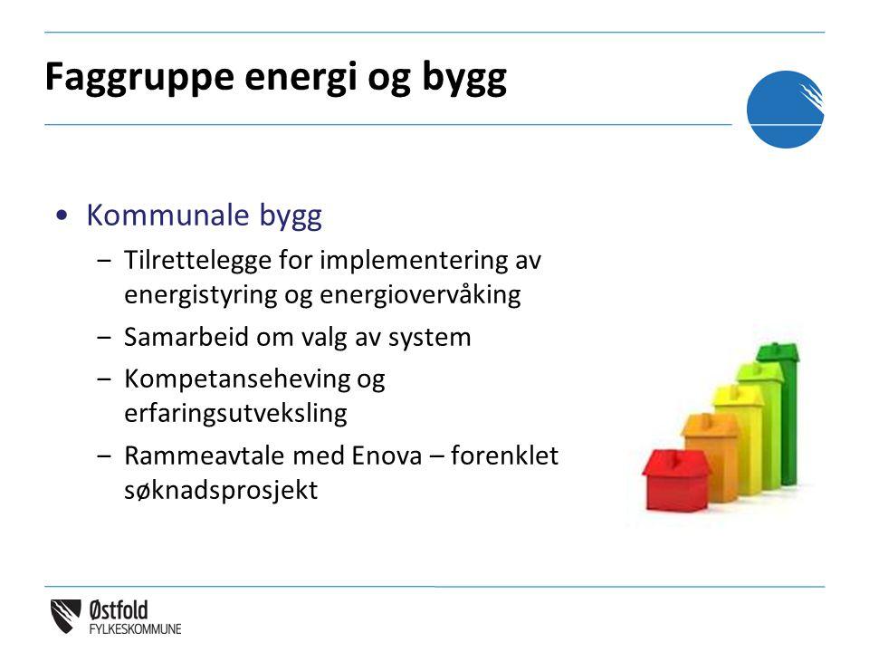 Faggruppe energi og bygg Kommunale bygg ‒Tilrettelegge for implementering av energistyring og energiovervåking ‒Samarbeid om valg av system ‒Kompetanseheving og erfaringsutveksling ‒Rammeavtale med Enova – forenklet søknadsprosjekt