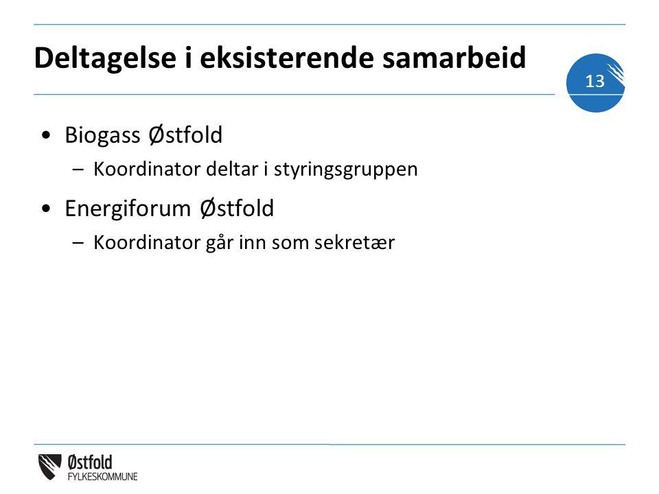 Deltagelse i eksisterende samarbeid Biogass Østfold –Koordinator deltar i styringsgruppen Energiforum Østfold –Koordinator går inn som sekretær 13