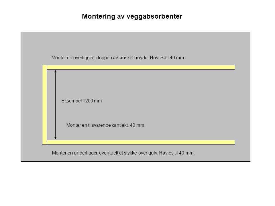 Montering av veggabsorbenter Monter en underligger, eventuelt et stykke over gulv. Høvles til 40 mm. Monter en overligger, i toppen av ønsket høyde. H