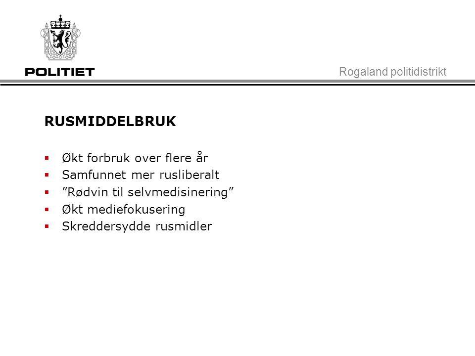 """Rogaland politidistrikt RUSMIDDELBRUK  Økt forbruk over flere år  Samfunnet mer rusliberalt  """"Rødvin til selvmedisinering""""  Økt mediefokusering """