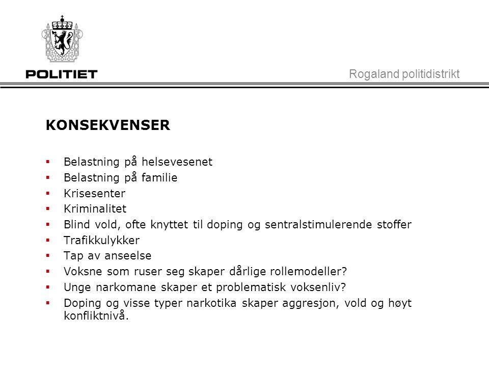 Rogaland politidistrikt KONSEKVENSER  Belastning på helsevesenet  Belastning på familie  Krisesenter  Kriminalitet  Blind vold, ofte knyttet til