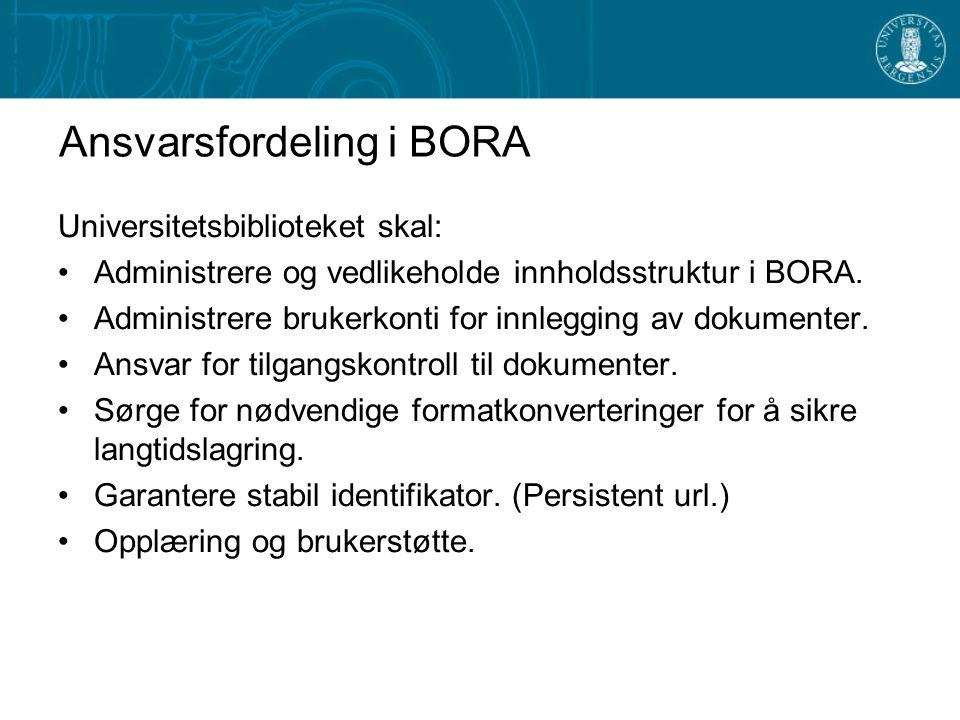 Ansvarsfordeling i BORA Universitetsbiblioteket skal: Administrere og vedlikeholde innholdsstruktur i BORA.