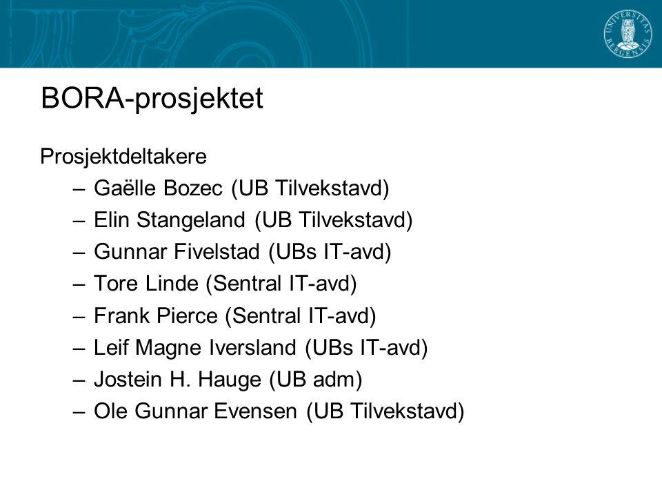 BORA-prosjektet Prosjektdeltakere –Gaëlle Bozec (UB Tilvekstavd) –Elin Stangeland (UB Tilvekstavd) –Gunnar Fivelstad (UBs IT-avd) –Tore Linde (Sentral IT-avd) –Frank Pierce (Sentral IT-avd) –Leif Magne Iversland (UBs IT-avd) –Jostein H.