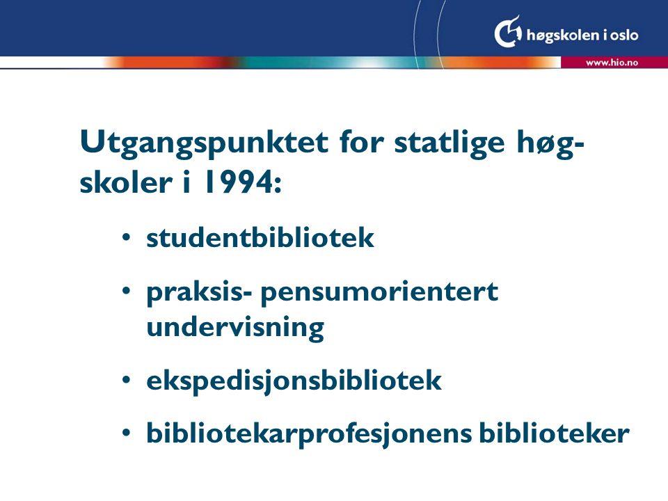 Utgangspunktet for statlige høg- skoler i 1994: studentbibliotek praksis- pensumorientert undervisning ekspedisjonsbibliotek bibliotekarprofesjonens biblioteker