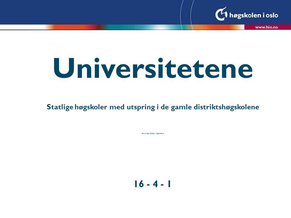 Universitetene Statlige høgskoler med utspring i de gamle distriktshøgskolene De øvrige statlige høgskolene 16 - 4 - 1