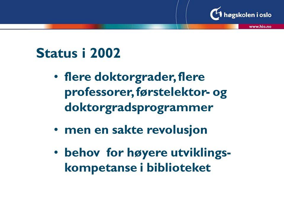 Status i 2002 flere doktorgrader, flere professorer, førstelektor- og doktorgradsprogrammer men en sakte revolusjon behov for høyere utviklings- kompetanse i biblioteket