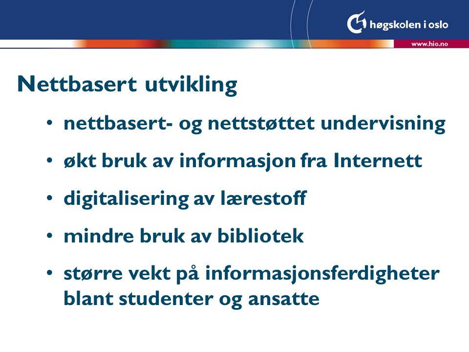 Nettbasert utvikling nettbasert- og nettstøttet undervisning økt bruk av informasjon fra Internett digitalisering av lærestoff mindre bruk av bibliotek større vekt på informasjonsferdigheter blant studenter og ansatte