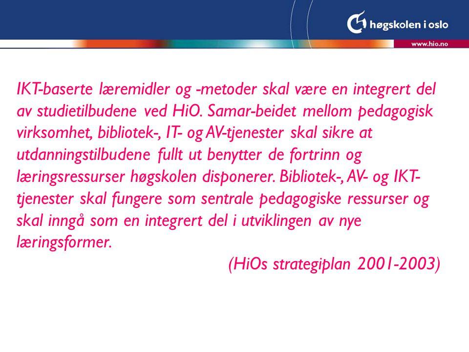 IKT-baserte læremidler og -metoder skal være en integrert del av studietilbudene ved HiO.