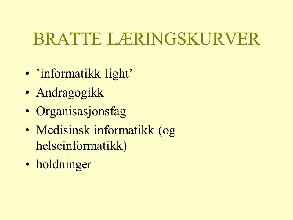 BRATTE LÆRINGSKURVER 'informatikk light' Andragogikk Organisasjonsfag Medisinsk informatikk (og helseinformatikk) holdninger
