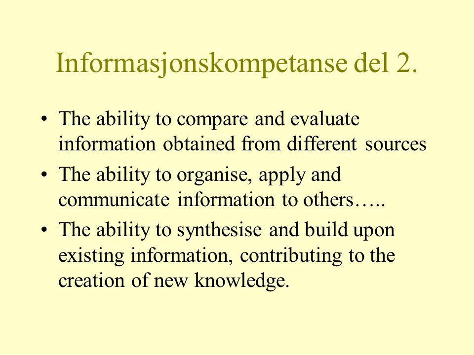 Informasjonskompetanse del 2.