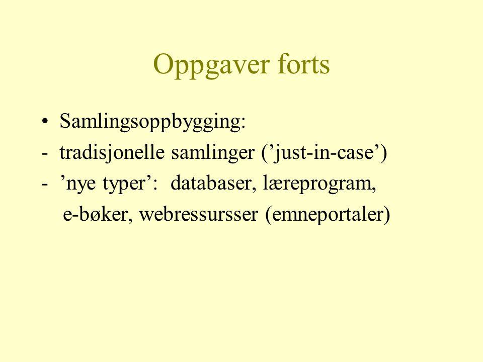 OPPGAVER Utviklingsarbeide : -B-Brukermiljøene -V-Våre medarbeidere i biblioteket -L-Ledelsen i biblioteket -S-Små prosjekter hele tida