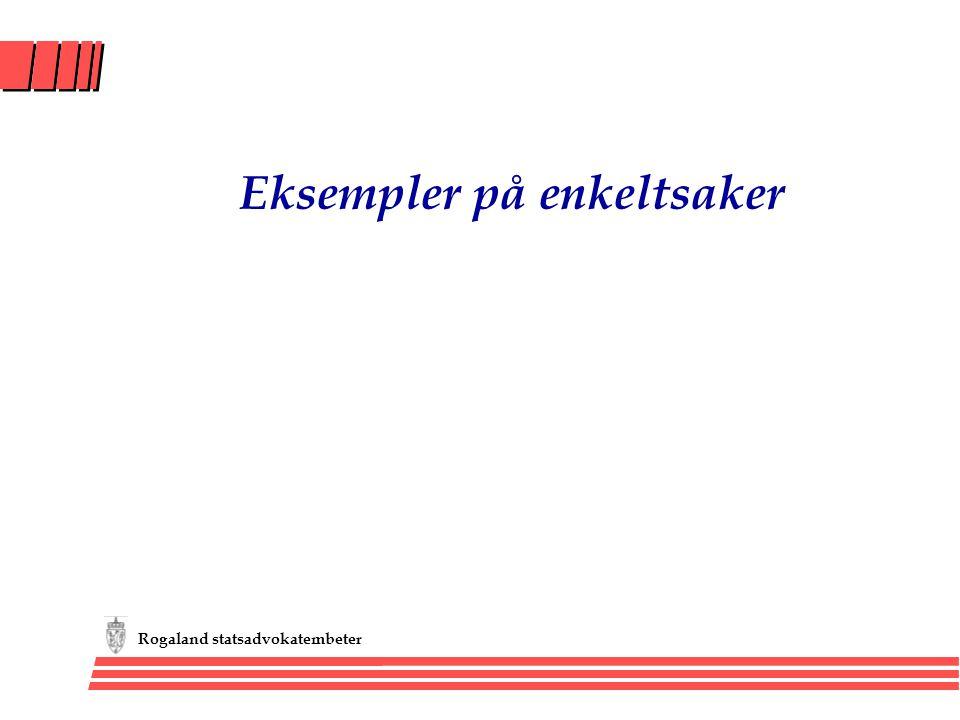 Rogaland statsadvokatembeter Eksempler på enkeltsaker