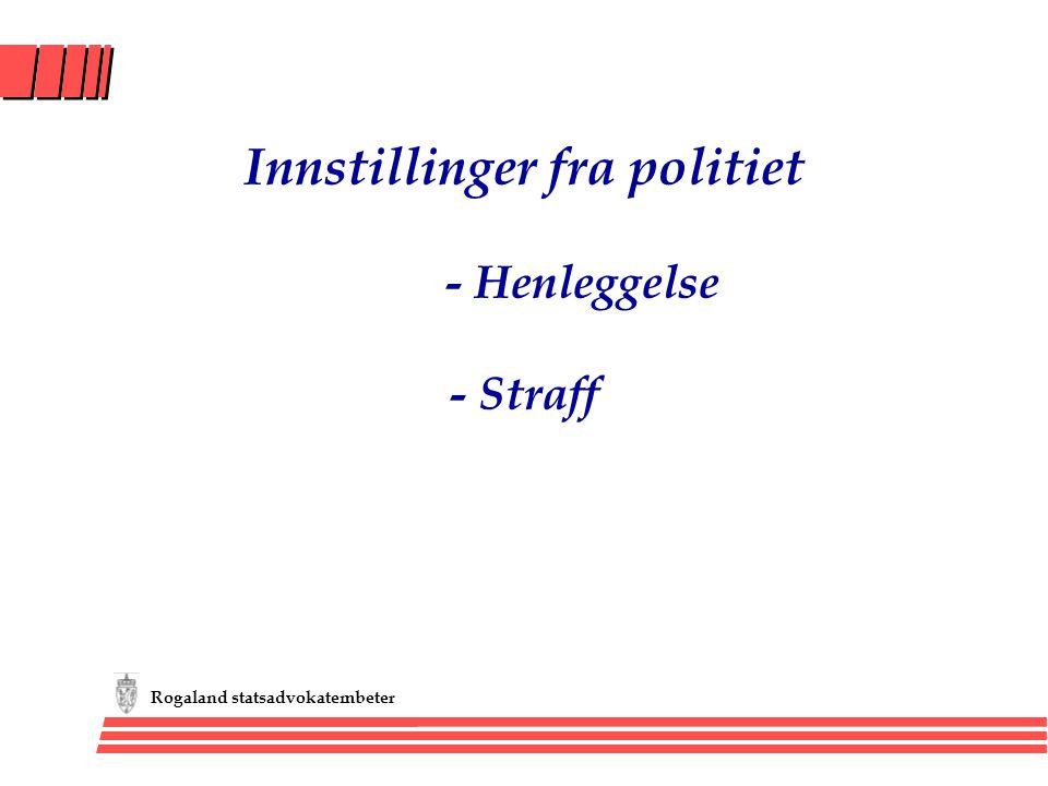 Rogaland statsadvokatembeter Innstillinger fra politiet - Henleggelse - Straff