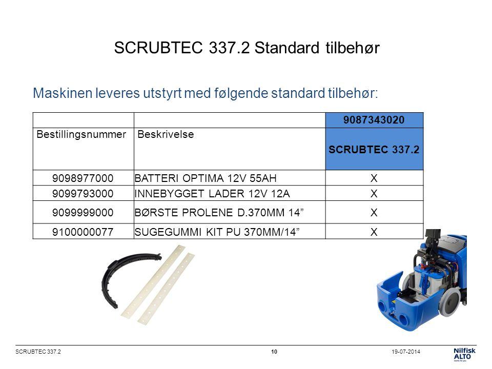 19-07-2014SCRUBTEC 337.210 SCRUBTEC 337.2 Standard tilbehør 9087343020 Bestillingsnummer Beskrivelse SCRUBTEC 337.2 9098977000BATTERI OPTIMA 12V 55AHX 9099793000INNEBYGGET LADER 12V 12AX 9099999000BØRSTE PROLENE D.370MM 14 X 9100000077SUGEGUMMI KIT PU 370MM/14 X Maskinen leveres utstyrt med følgende standard tilbehør: