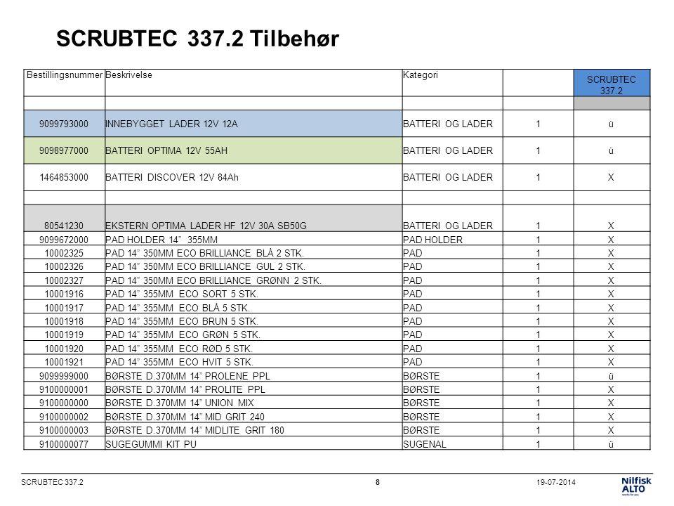 19-07-2014SCRUBTEC 337.29 SCRUBTEC 337.2 tekniske data SCRUBTEC 337.2 Vaskebredde (mm)370 Sugebredde (mm)470 Rent-/skittenvannstank (liter)11/12 Vannmengde (l/min) 2 innstillinger0.25-0.5 Sugemotor effekt (watt)200 Kapasitet (teoretisk) (m 2 /t)1480 Børstemotor effekt (watt)260 Børste hastighet (o/min)140 Børste trykk (kg)27 Lydnivå (dB(A))65