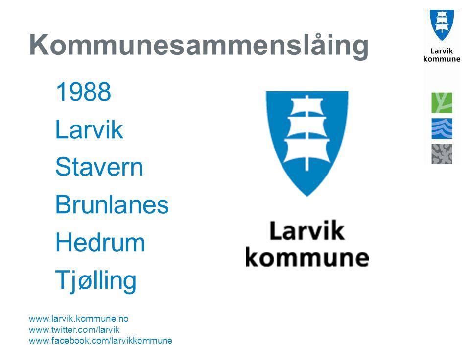 www.larvik.kommune.no www.twitter.com/larvik www.facebook.com/larvikkommune Kommunesammenslåing 1988 Larvik Stavern Brunlanes Hedrum Tjølling